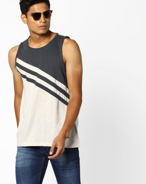Sleeveless Cut & Sew Tank T-shirt By AJIO ( Ecru )