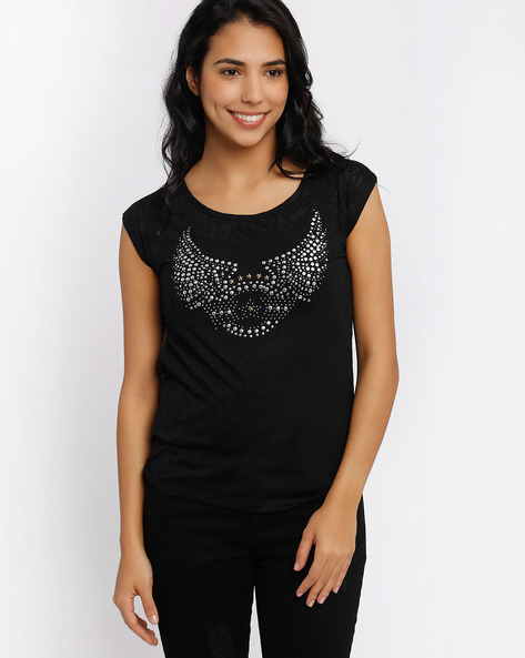 Embellished T-shirt By SF Jeans By Pantaloons ( Black )
