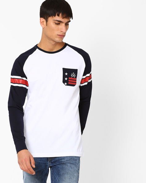 Crew Neck T-shirt With Raglan Sleeves By TEAM SPIRIT ( Offwhite )