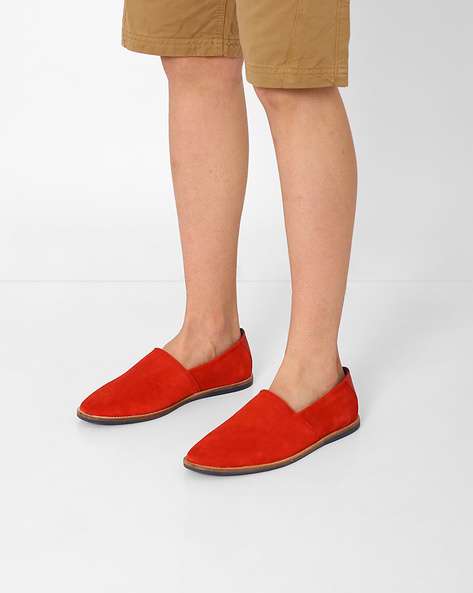 Genuine Leather Slip-Ons By AJIO ( Red )