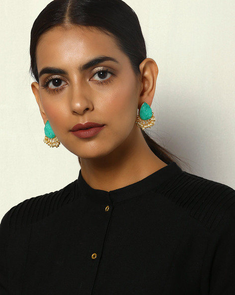 Druzy Brass Studs With Pearl Drops By Courtyard ( Green )