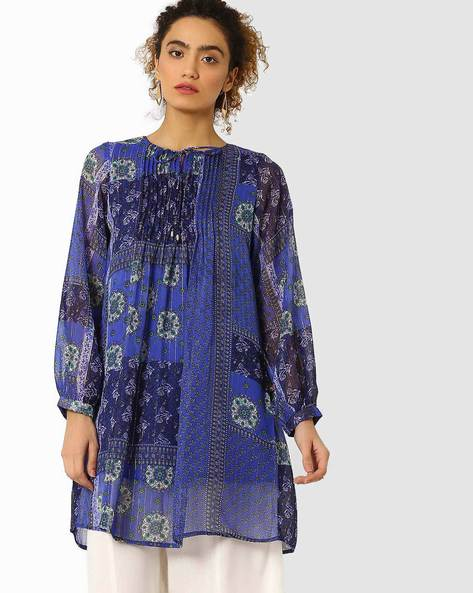 Printed Tunic With Pintucks By Juniper ( Blue )