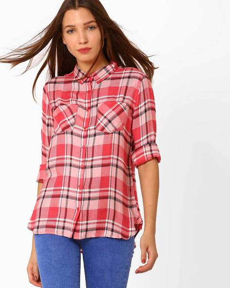 Plaid Shirt With Pockets By Fame Forever By Lifestyle ( Pink )