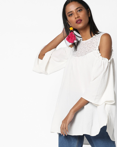 Cold-Shoulder Tunic With Crochet Yoke By AJIO ( Ivory )