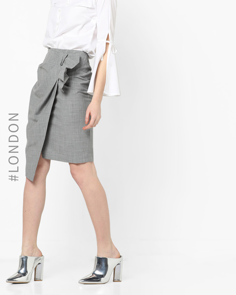 Asymmetrical Wrap Skirt With Pleated Panel By Closet London ( Grey )