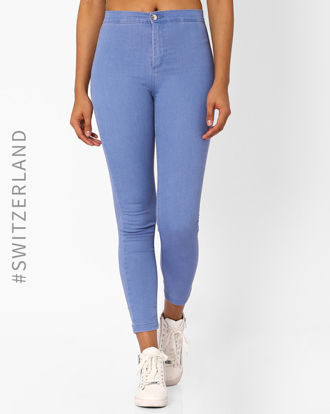 Skinny Fit High-Rise Jeggings By TALLY WEiJL ( Lightblue )