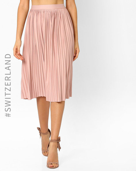 Pleated Midi Skirt By TALLY WEiJL ( Blush )