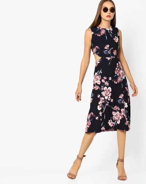 Floral Print Midi Dress By AJIO ( Pink )