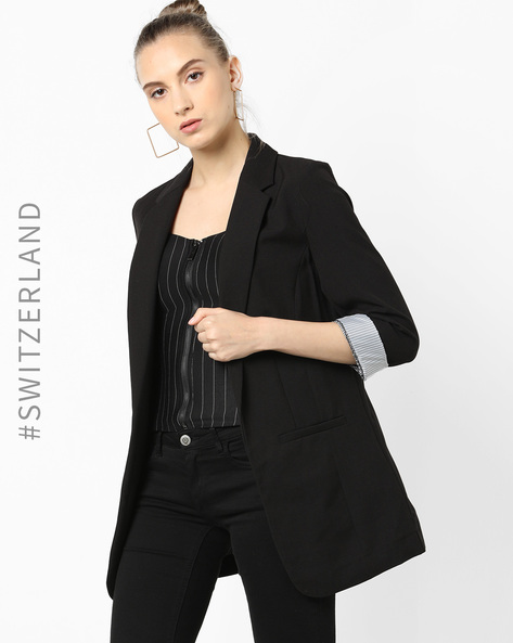 Front-Open Blazer With Notched Lapel By TALLY WEiJL ( Black )