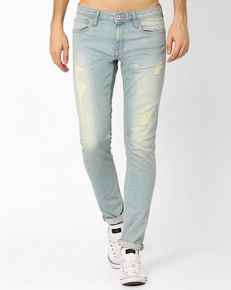 Distressed Slim Jeans By Jack & Jones ( Blue )