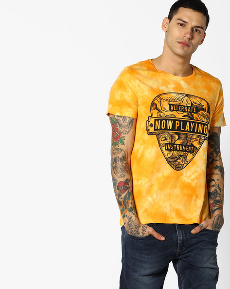 Graphic Print Dyed T-shirt By AJIO ( Yellow )