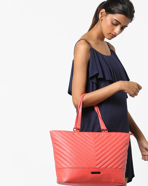 Angelina Tote Bag With Zip Closure By CAPRESE ( Pink )