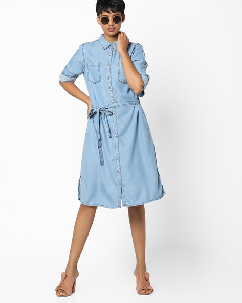 Denim Shirt Dress With Waist Tie-Up By Project Eve WW Denim ( Lightblue )