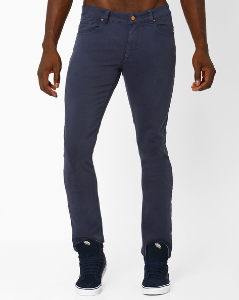 Slim Fit Jeans With 5-Pockets By Blue Saint ( Blue )