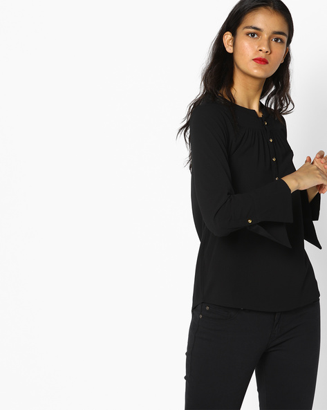 Collared Top With Button Placket By FIG ( Black )