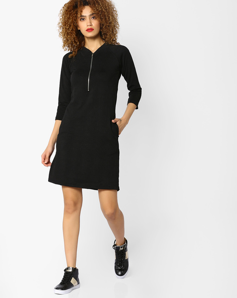 Shift Dress With Zipper By And ( Black )