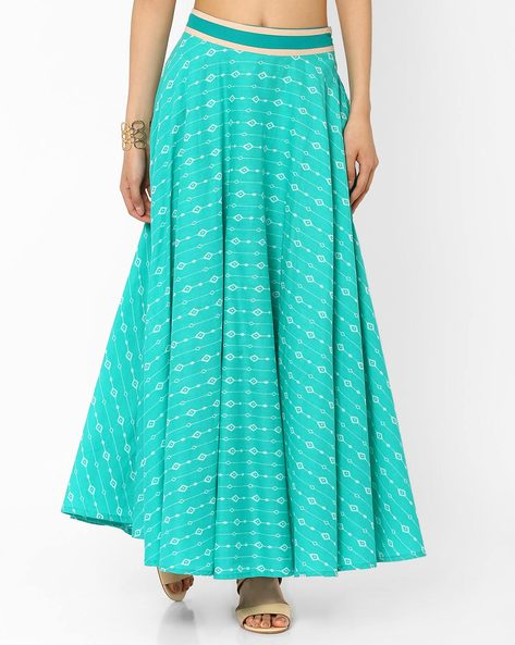 Printed Maxi Skirt By AJIO ( Teal )