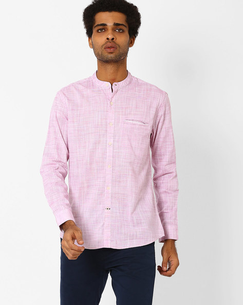 Slim Fit Shirt With Mandarin Collar By NETPLAY ( Pink )