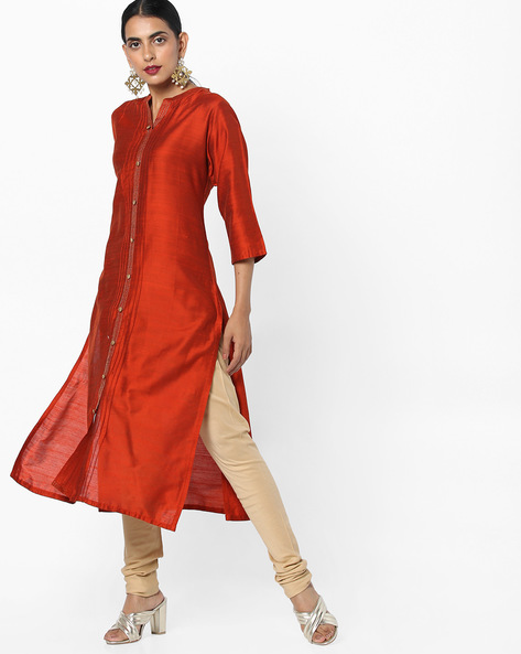 Collared Straight Kurta With Insert Pockets By Shree ( Rust )