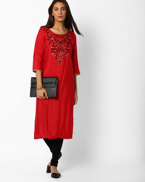 Embroidered Straight Kurta By AURELIA ( Red )