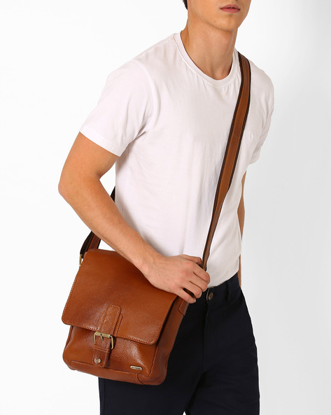 Genuine Leather Messenger Bag By TEAKWOOD LEATHERS ( Tan ) - 460053063001