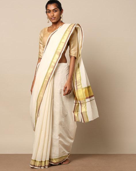 Kerala Kasavu Pettu Design Cotton Saree By Indie Picks ( Offwhite ) - 460191484001