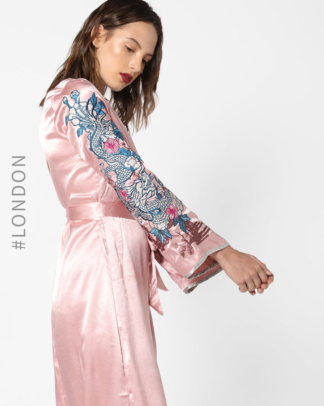 Kimono Dress With Embroidered Bell Sleeves By Glamorous ( Pink )