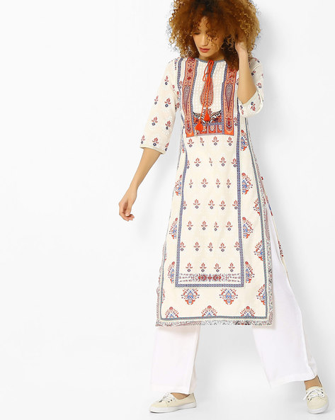 Printed Kurta With Tassel Tie-Up By W ( White )