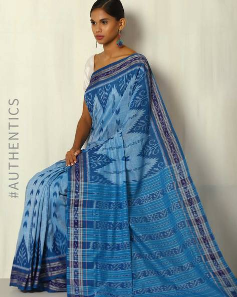 Handwoven Nuapatna Sambalpuri Cotton Ikat Saree By Indie Picks ( Blue )