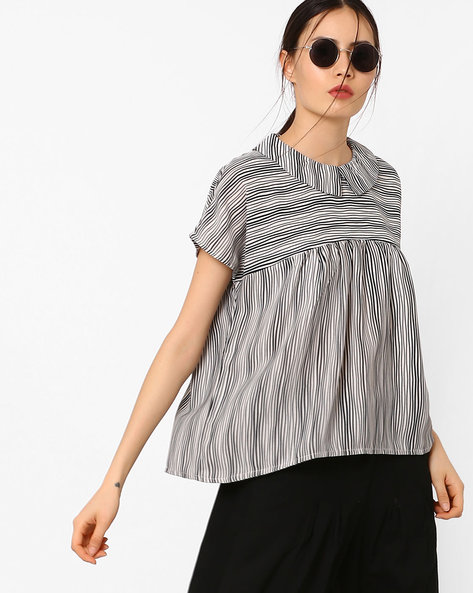 Striped Top With Extended Sleeves By CHM ( Black )