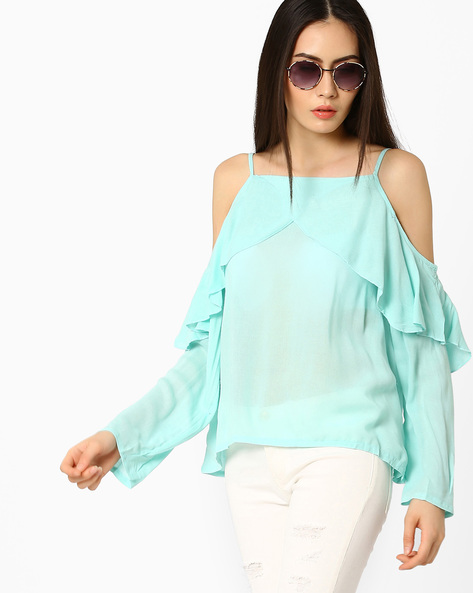 Cold-Shoulder Top With Ruffles By Ginger By Lifestyle ( Lightblue )