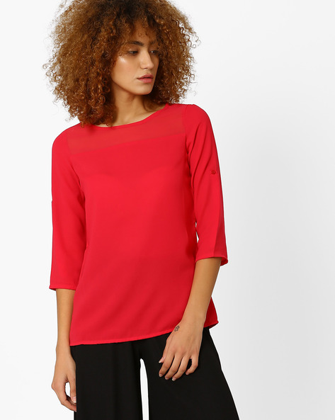 Illusion Neck Top By Honey By Pantaloons ( Pink )