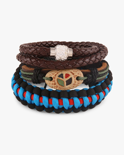 Set Of 3 Braided Bracelets By ALPHA MAN ( Multicolor )