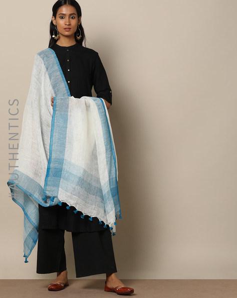 Handloom Linen Dupatta With Pom-Pom Detail By Indie Picks ( Multi )