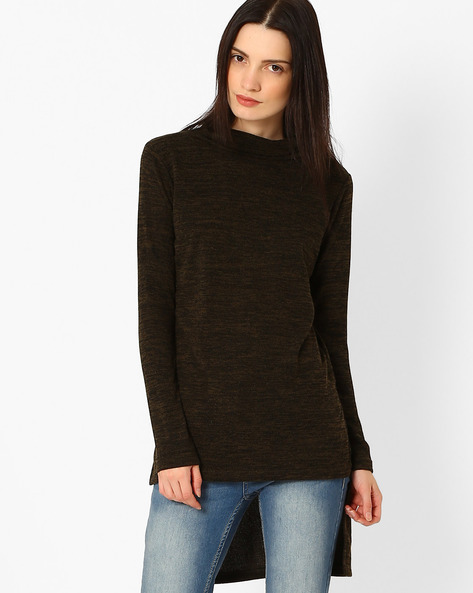 Heathered High-Low Tunic By FIG ( Navy )