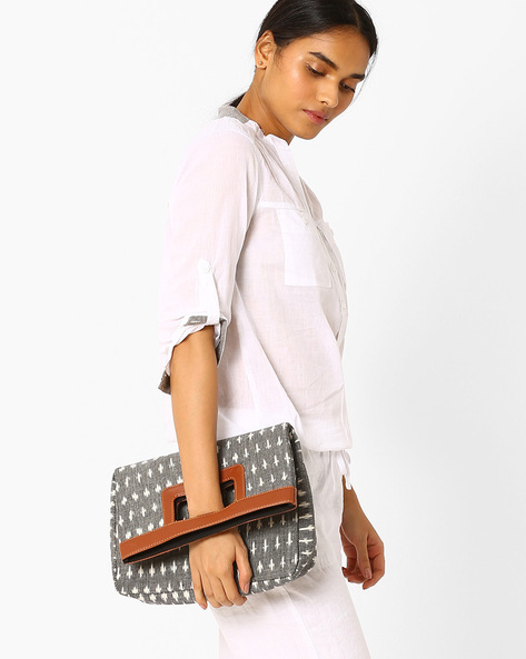 Ikat Print Foldover Clutch By AJIO ( Grey )