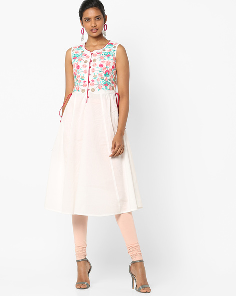 Sleeveless Anarkali Kurta By AJIO ( Offwhite )