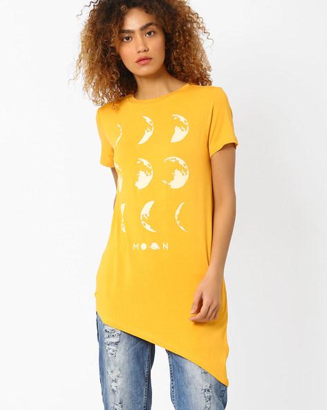 Printed Top With Asymmetrical Hem By AJIO ( Mustard )