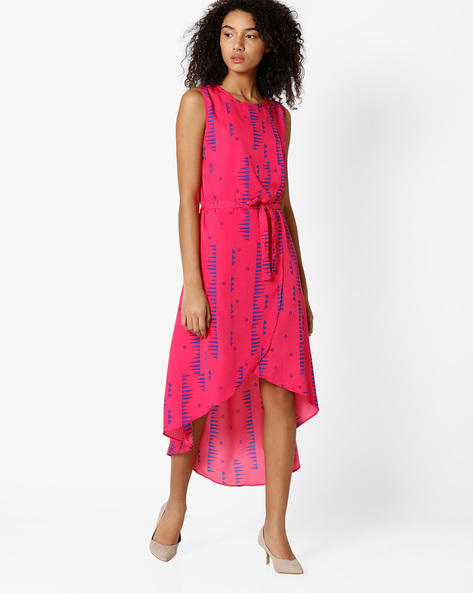 Printed High-Low Dress With Tie-Up Detail By Indian Ink ( Pink )