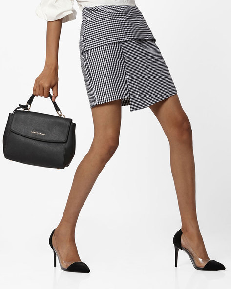 Panelled Checked Mini Skirt By Ginger By Lifestyle ( Black )