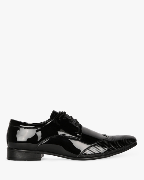 Wing-Tip Lace-Up Derby Shoes By SAN FRISSCO ( Black )