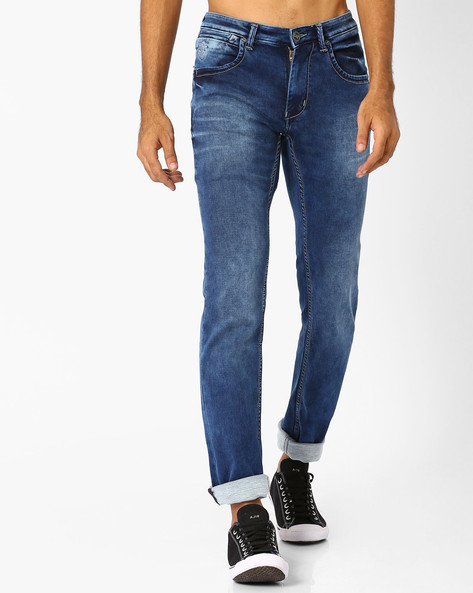 Lightly Washed Slim Fit Jeans By SIN ( Indigo ) - 460027242001
