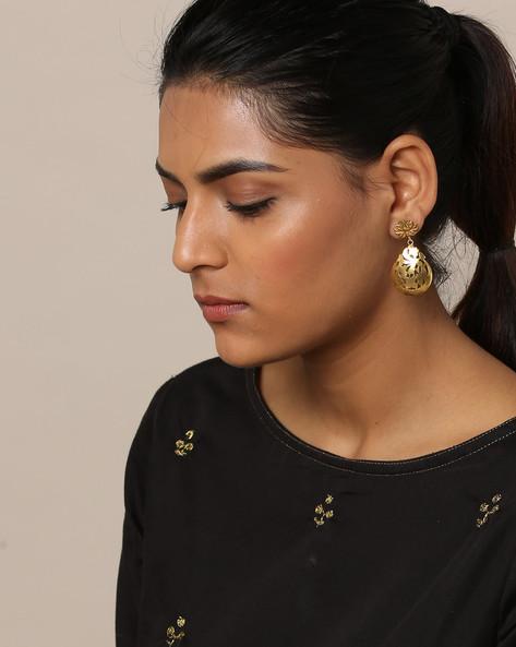 Gold-Plated Filigree Lotus Designer Earrings By Rubans ( Gold )