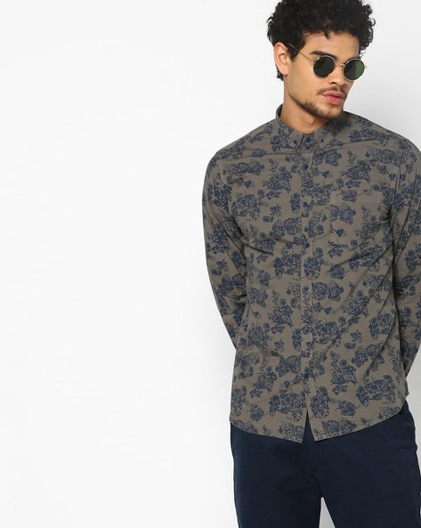 Floral Print Slim Fit Shirt By AJIO ( Grey )