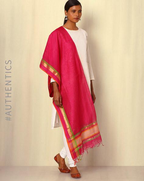 Handwoven Maheshwari Silk Cotton Dupatta By GoCoop ( Violet )