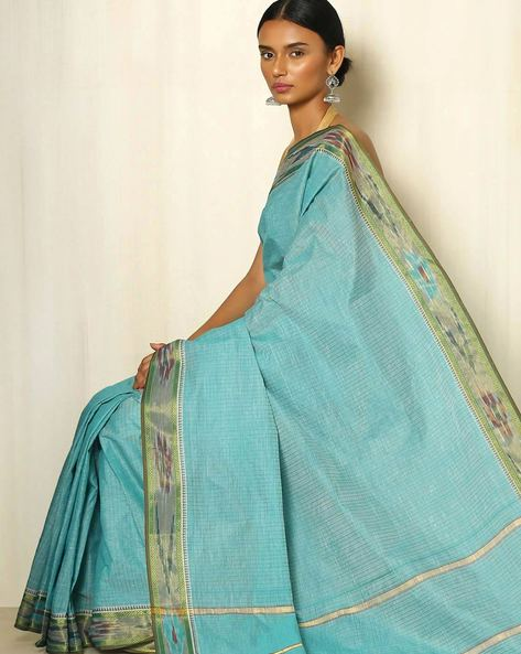 Kanchi Checked Cotton Saree By Indie Picks ( Green )