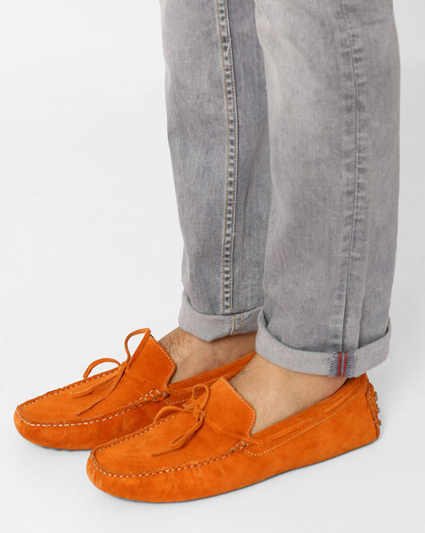 Lightweight Cushioned N9-Treated Suede Loafers By AJIO ( Orange )