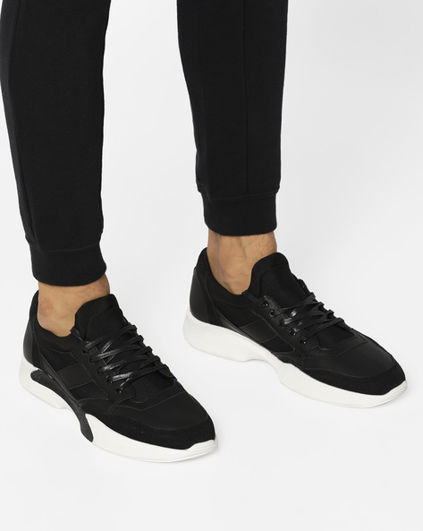 Panelled Lace-Up Shoes With Cut-Outs By AERO BLUEZ ( Black )