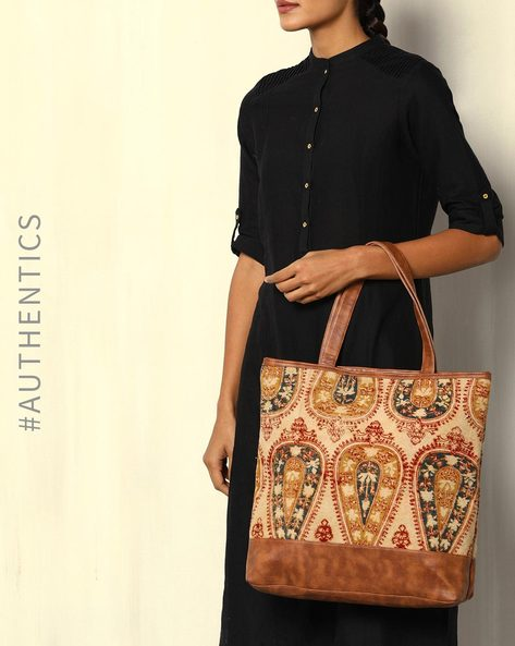 Handblock Print Kalamkari Kilim Tote Bag By A BIG INDIAN STORY ( Tan )