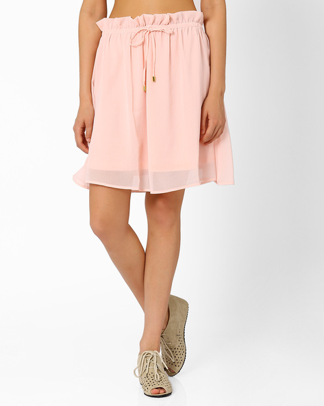 Paperbag Waist Mini Skirt By AJIO ( Pink )